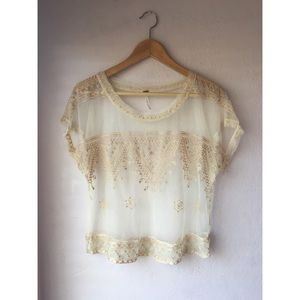 {Free People} Sheer Lace Embroided Top